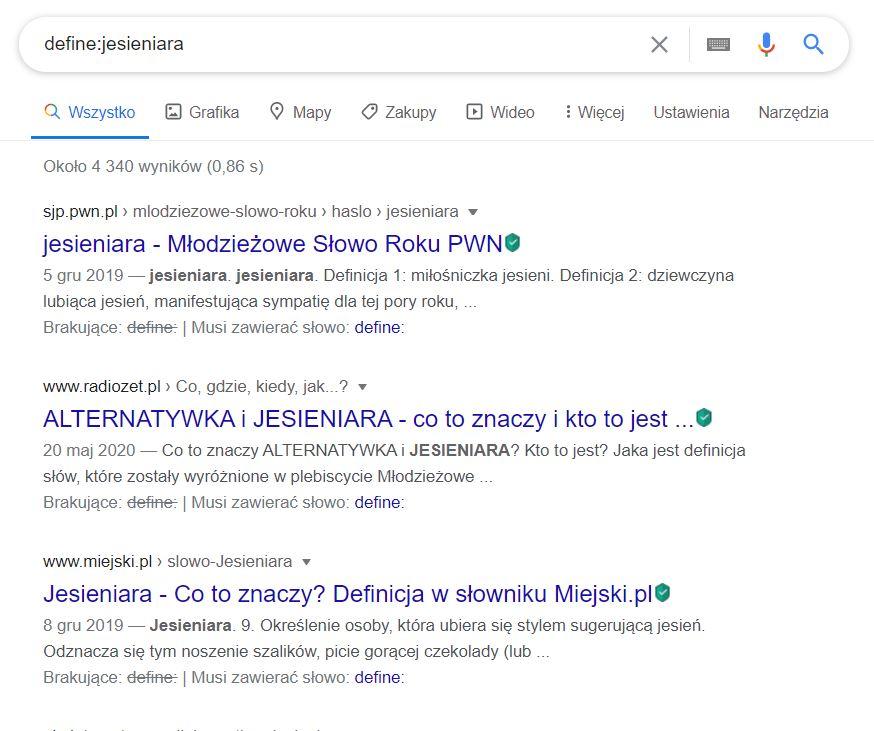 operator define w Google