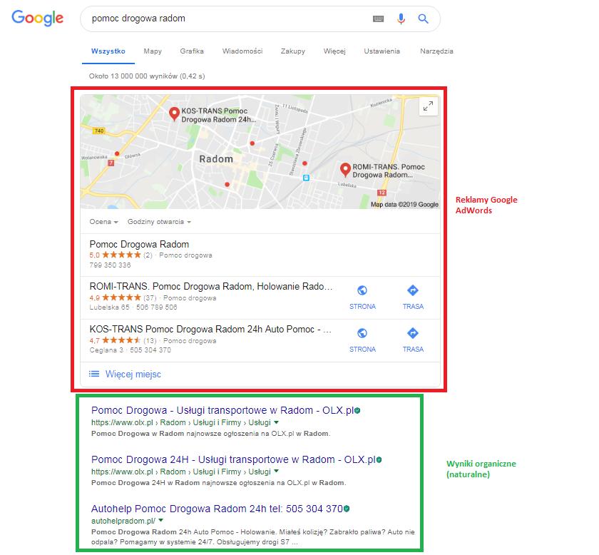 wyniki organiczne w Google