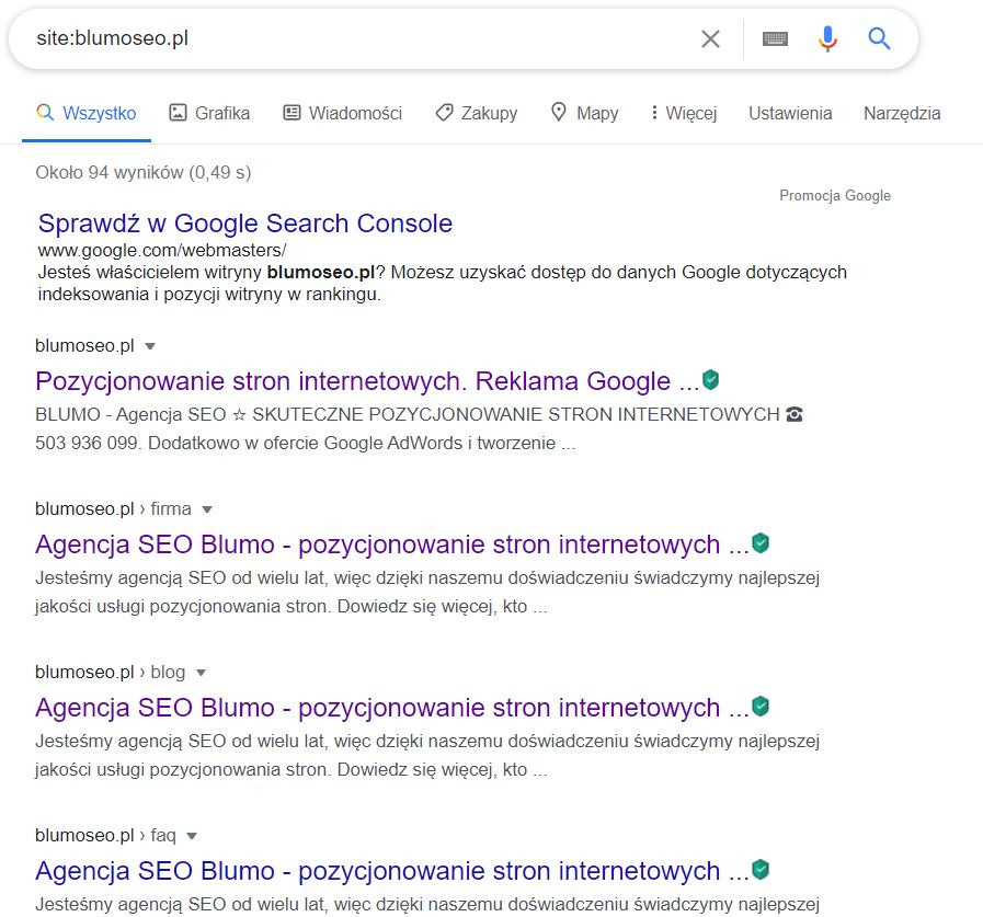 site w Google